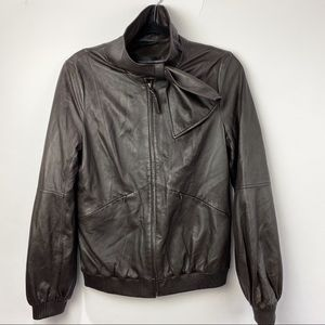 Mackage leather brown bomber jacket